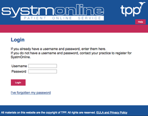 Systmonline. Online Patient Services sign in screen